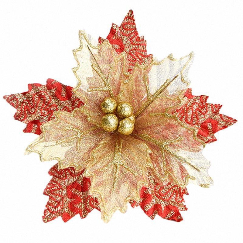 Schöne Weihnachten Goldene Verbandsmull Blume Kreative Glitter künstliche Blume Weihnachtsbaum Dekoration Weihnachtsbaum hängende Verzierung Decora CtkK #