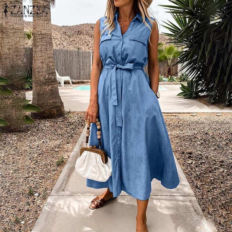 Kadınlar için 5xl Denim Mavi Elbiseler 2021 Bayanlar Midi Vestidos Zanzea Rahat Kolsuz Sundress Yaz Kuşaklı Plaj Robe Artı Boyutu