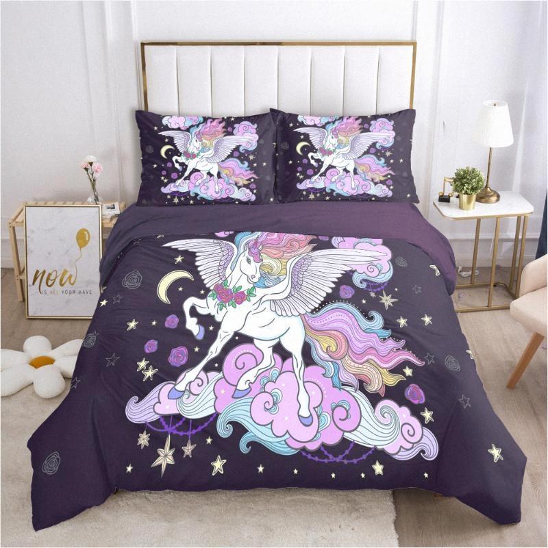 Sala 3D bonito unicórnio Set cama capa de edredão e fronhas Crianças Deco 1 capa do edredon e 2 fronhas KCoi #