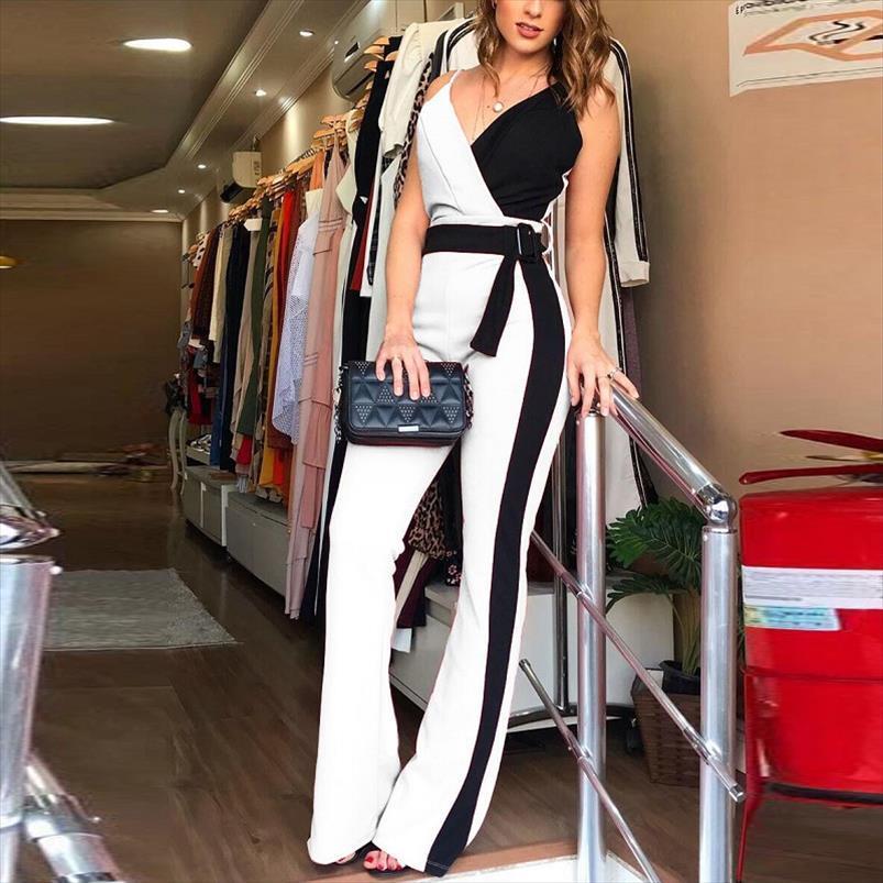 Цвет блокировки спагетти ремешок комбинезоны элегантные Rompers женский комбинезон полосатые брюки офисные дамы боди V шеи ленточный брюк