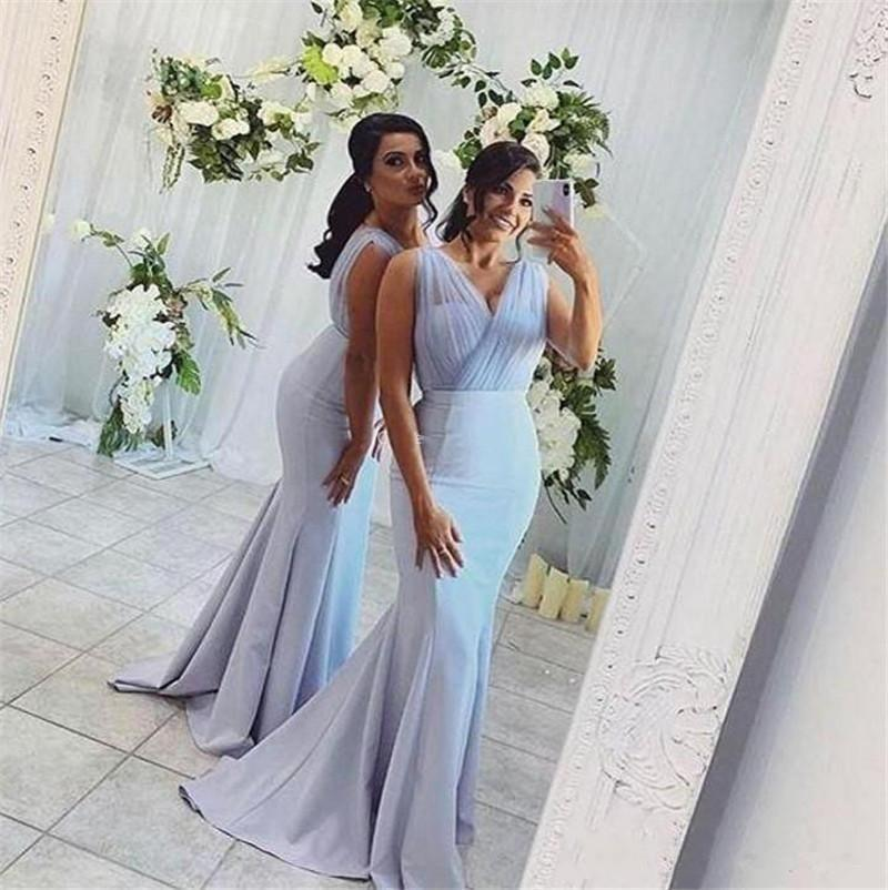 Sheer Tulle V Neck Bridesmaid Dresses Mermaid Long Maid of Honor Gowns Zipper Back Cheap Wedding Guest Dress