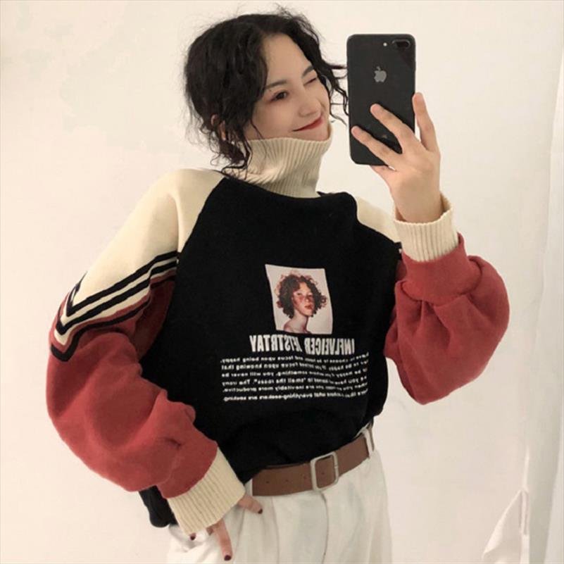 Kış yeni Koreli moda yüksek yaka artı kadife kalın uzun kollu kazak u Harajuku gevşek kafa gündelik kadın kazak