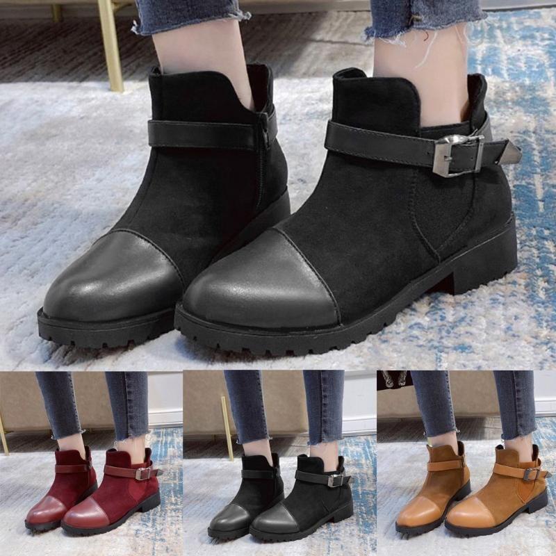 Сапоги моды Женщины плюс размер дамы осень зима повседневная ретро квадратная пятка пряжка ремень твердого короткого пинетка круглые туфли