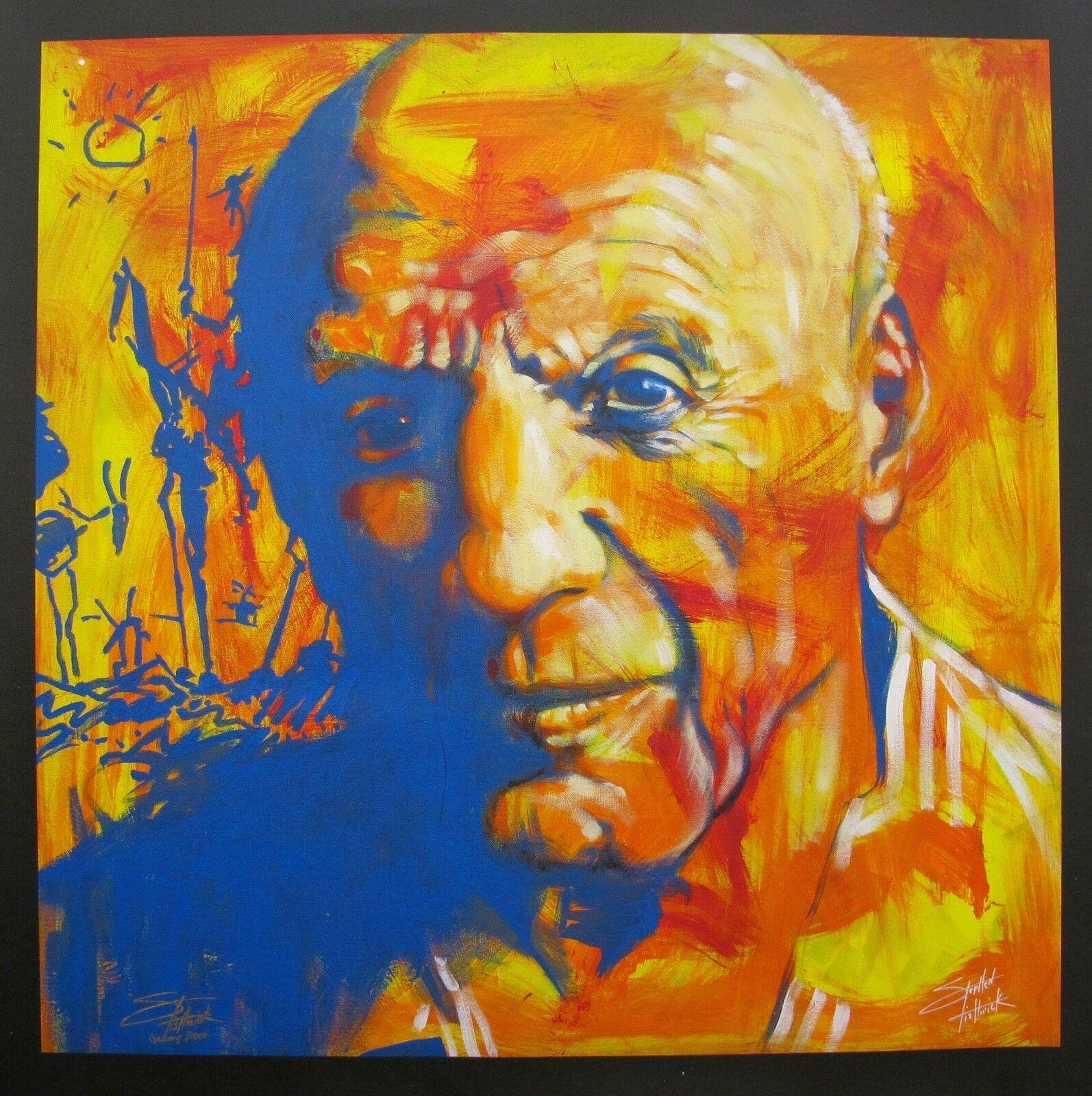 """STEPHEN FISHWICK """"Pablo Picasso"""" Ev Dekorasyon El Sanatları / Açık Tuval Wall Art Kanvas Resimleri Duvar Dekorların 201002 Boyama HD Baskı Yağ"""