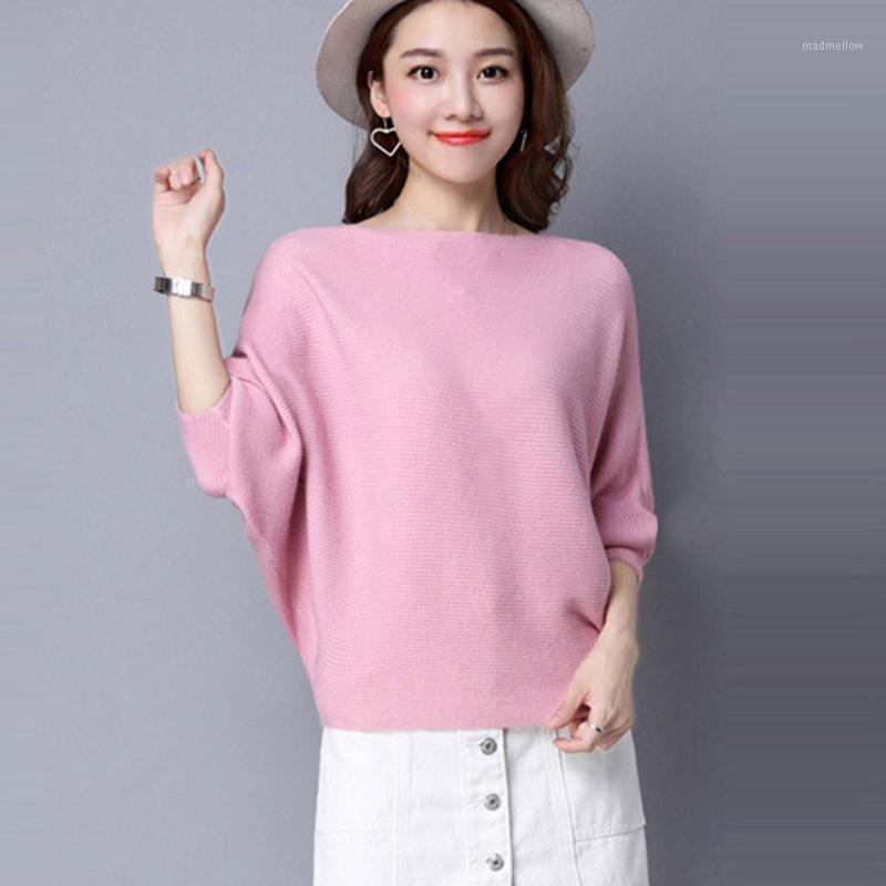 2020 осень зима теплый пуловер свитер женщины летучая мышь рукав сплошной цвет круглые шеи с длинным рукавом вязание короткие вершины джемпер Femme1