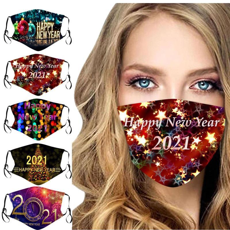Женщины Мужчины Дети Маска для лица 2021 Happy New Year Печатные Маски Мода Моющиеся взрослых могут быть вставлены с фильтром маски для лица 5 цветов E110904