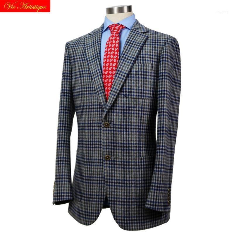 Trajes para hombres Blazers personalizados personalizados Hombre Hombre Hombres MERSPOKE Negocio Formal Wedding Ware 1 pieza Chaqueta Abrigo Gris Ballenas Plaid Tweed Wool1