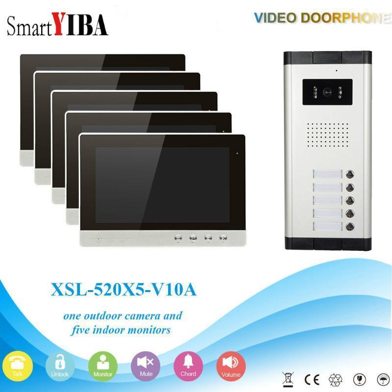 SMARTYIBA 5 Apartments Home Video Door Phone 7inch Farbbildschirme Video Intercom System Nachtsicht CCD Tür Bell1