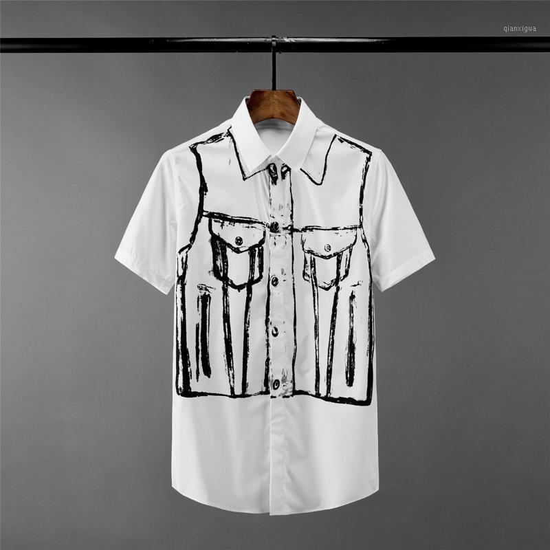 Nouveaux chemises à manches courtes Chemises de luxe imprimé Hommes robe robe de haute qualité Slim Fit masculin Mason Casual Man1