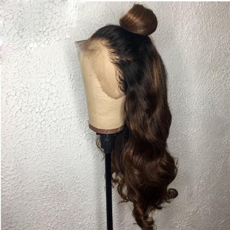 13x4 nero radice dei capelli Brown / 6 pizzo parrucca Parte 26 pollici Malesia umano parrucca di capelli per donne di colore con il bambino