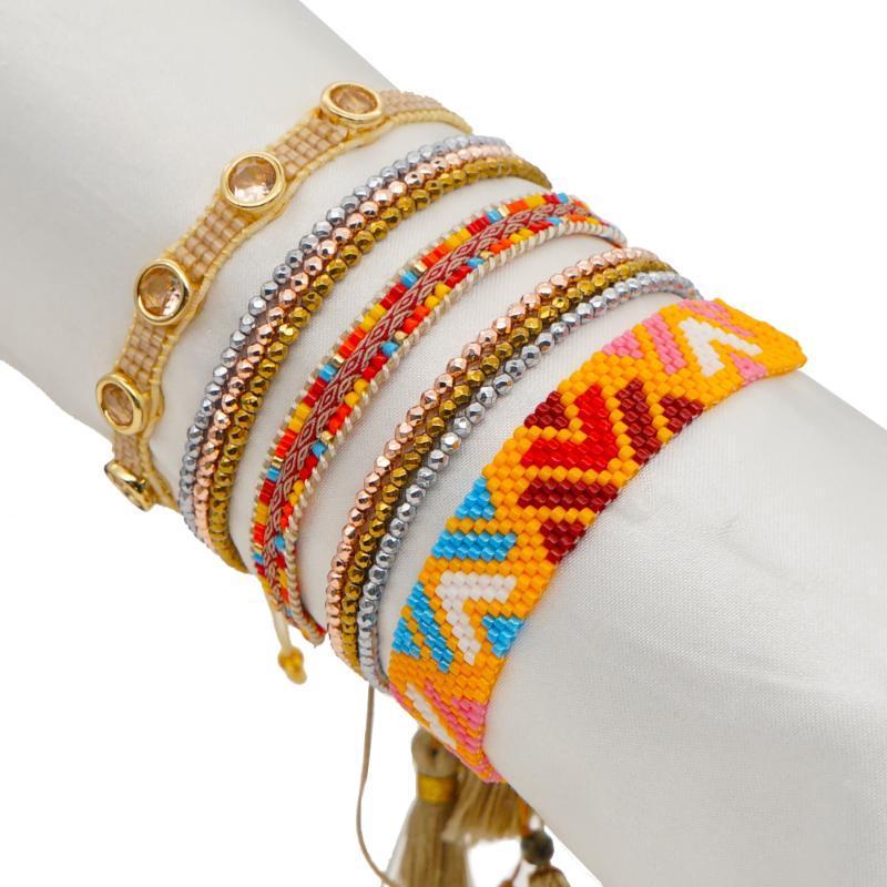 Go2boho Miyuki Bracelet Colorful Bracelets Cloth Braided Jewelry For Women Rhinestone Boho Fashion Crystal Hematite Jewellery
