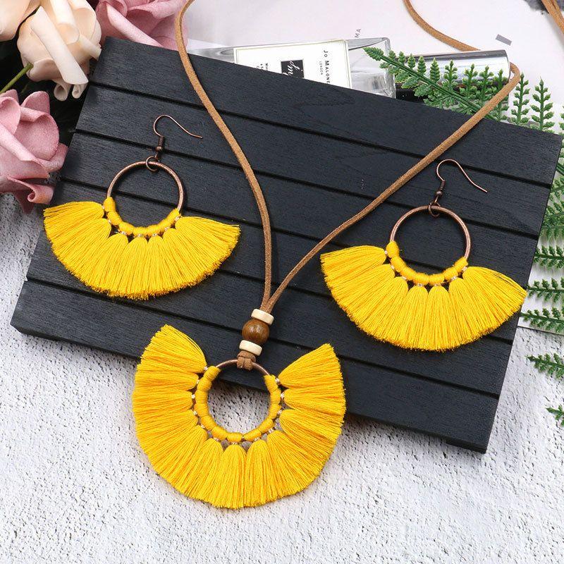Retro Tassel Earrings Necklace Set Handmade Multi Colors Bohemia Women Ethnic Circle Tassel Jewelry Set Brincos