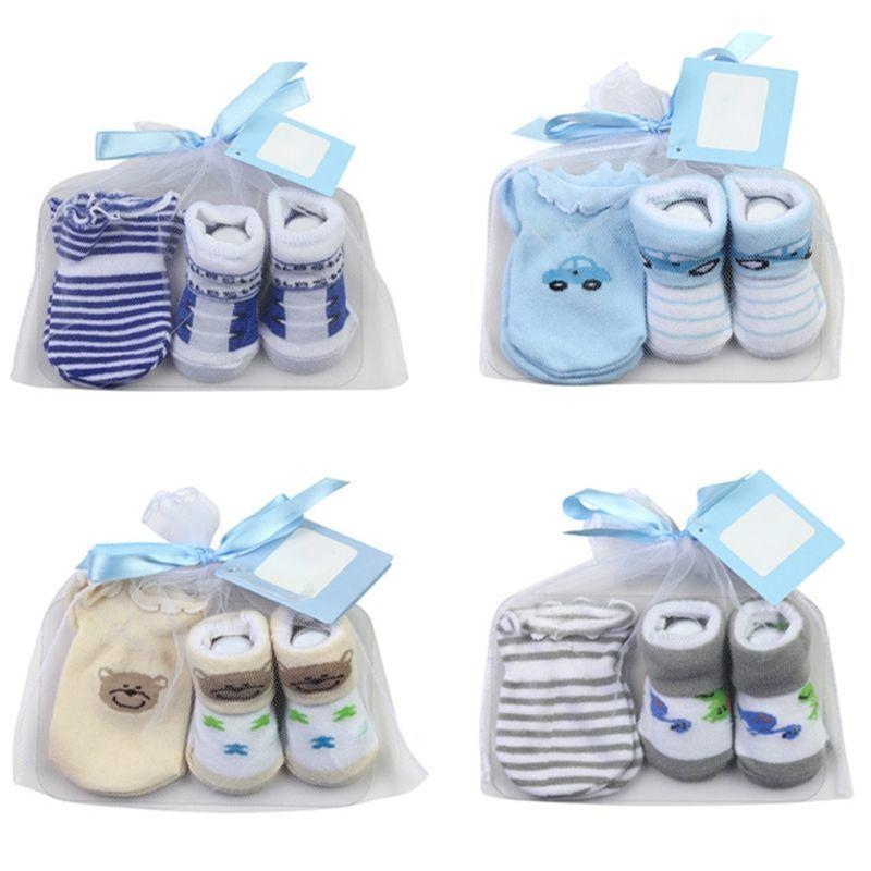Trasporto libero calzini da bambino + guanti antigraffio set per neonati neonato bambino 0-6 mesi regalo neonato accessori per bambini Y201001