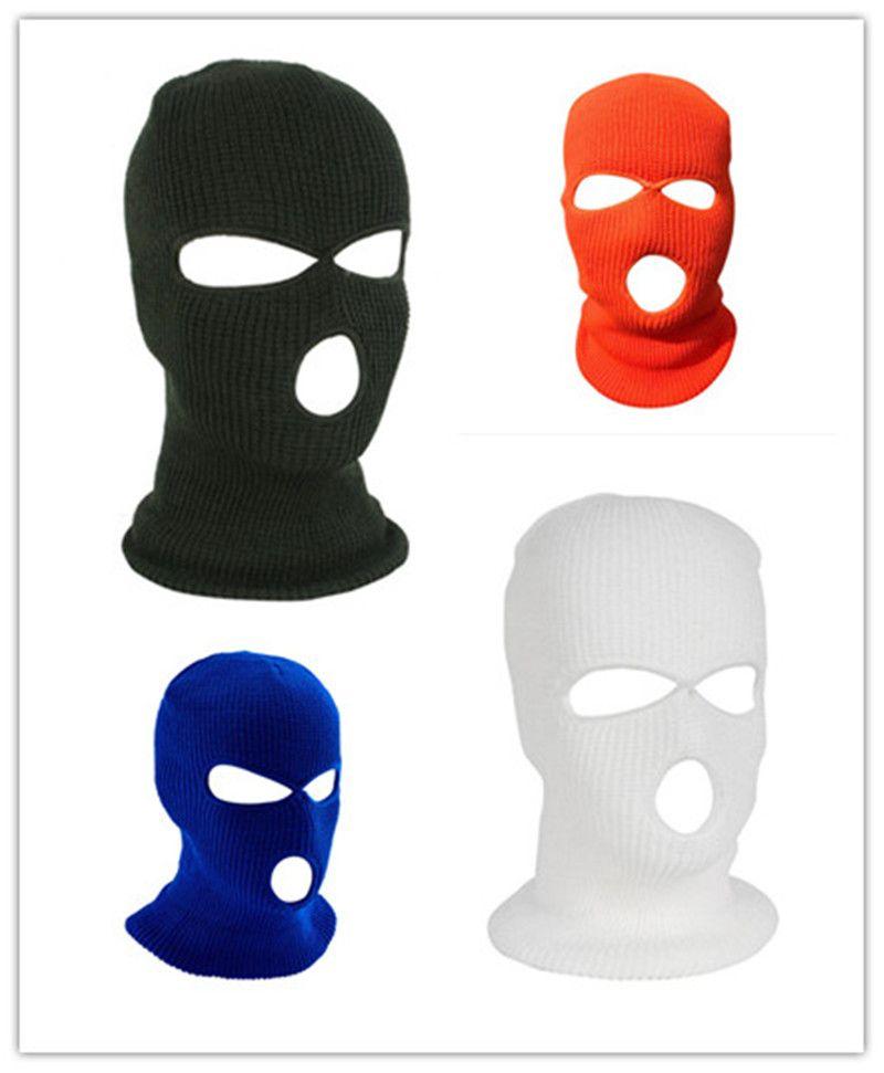 3 Delik Yüz Kayak Kış Cap Balaclava Beanie Kış Örme Kask kap Hat Hood Ordu Taktik Maskeler Maske
