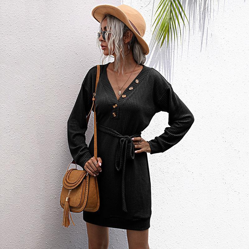 Katı V Yaka Siyah Ince Uzun Kollu Örme Elbise Kadınlar için YENI Sonbahar ve Kış 2020