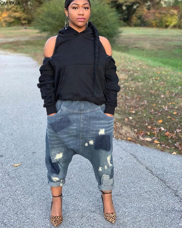 Женские джинсы CM.yaya Женщины Autumm Hole Hip Hop Haren брюки Уличная одежда Джинсовые брюки1