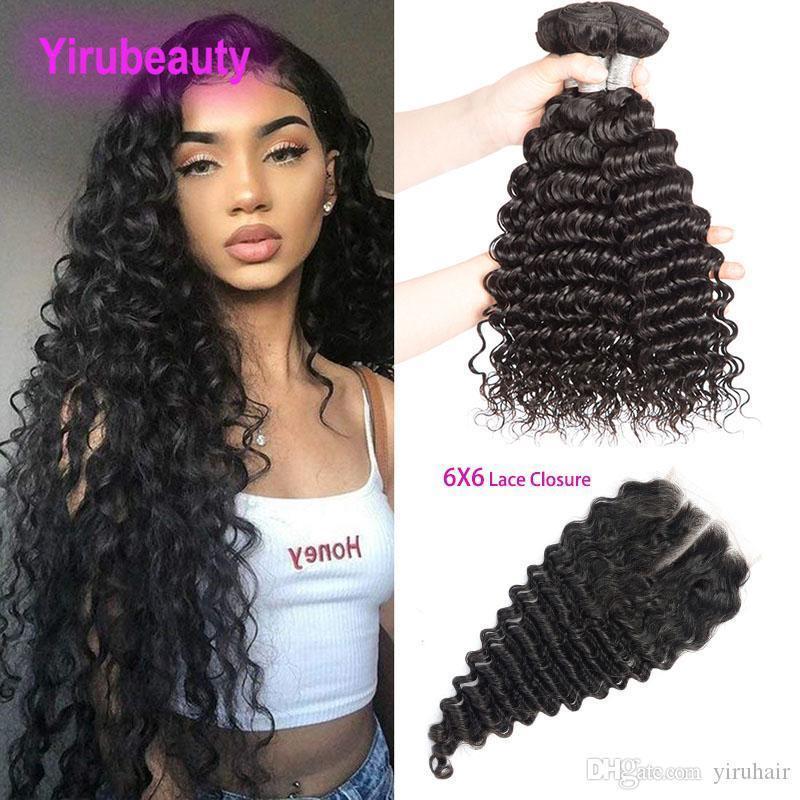 Pacotes de cabelos virgem indianos com fecho de renda 6x6 onda profunda 3 pacotes com 6x6 lace fecho 4 peças muito