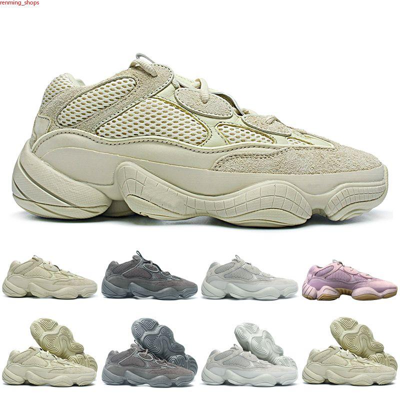 500 Kanye Mens Casual Shoes Desert Rat Rata 500 Visión Soft Sal Blush Blush Blanco Utilidad Black Stone Super Moon Amarillo Hombres Mujeres Zapatos Zapatillas de deporte