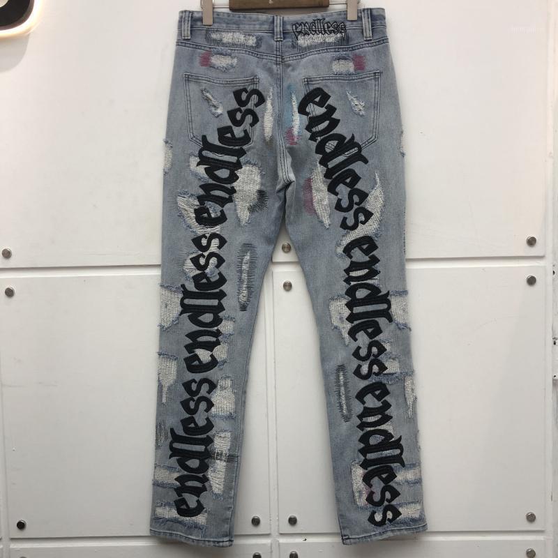 Nouveau Denim Jeans Hommes Femmes Top Quality Streetwear Denim Pantalon Dommages Dommages en détresse Cowboy Lettre Broderie Jeans1