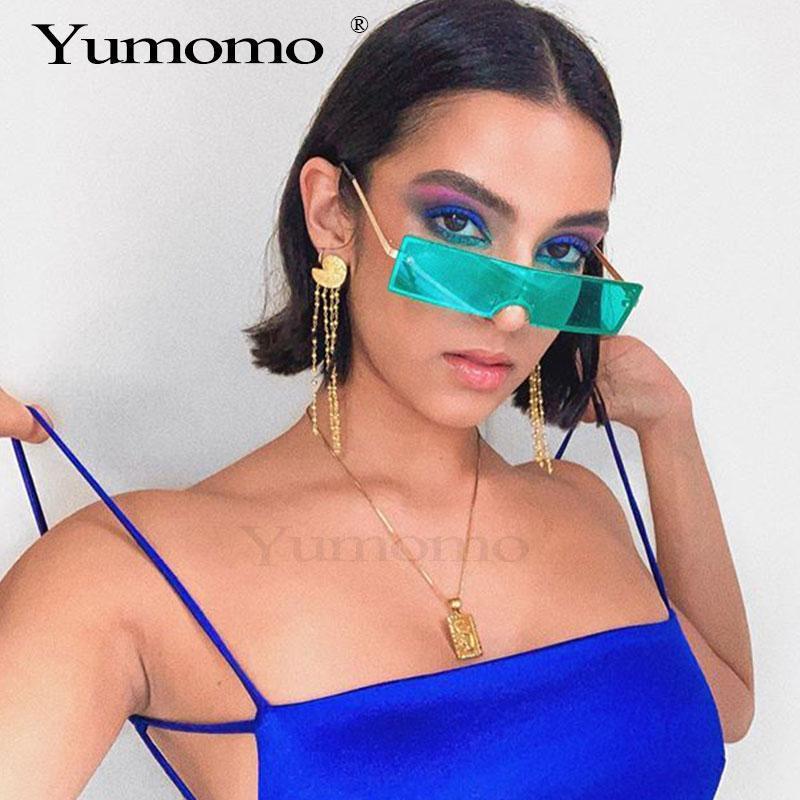 Tendencia rectangular gafas de sol marca de diseño mujer moda lente negro claro hembra uv400 sexy gafas retro rojo para xlffc