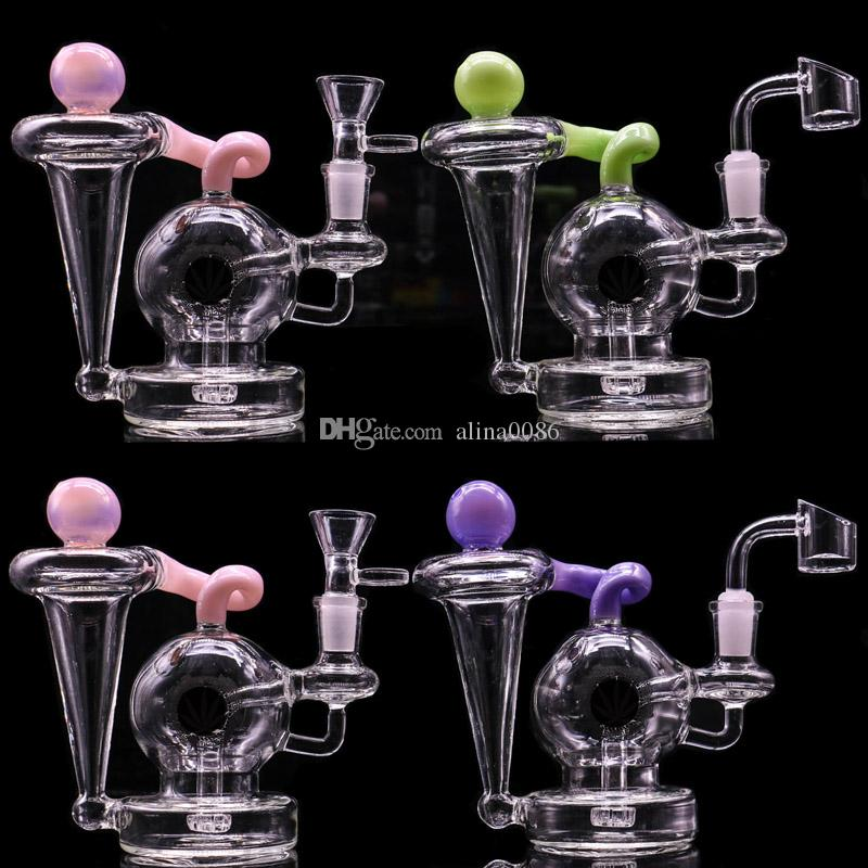 5.7 pollici DAB Rig in vetro acqua Bongs Bangs Bubbler con 4mm Quartz Banger Oil Rigs Glass Bong Bubbler Nuovo riciclatore Bong DAB Rigs