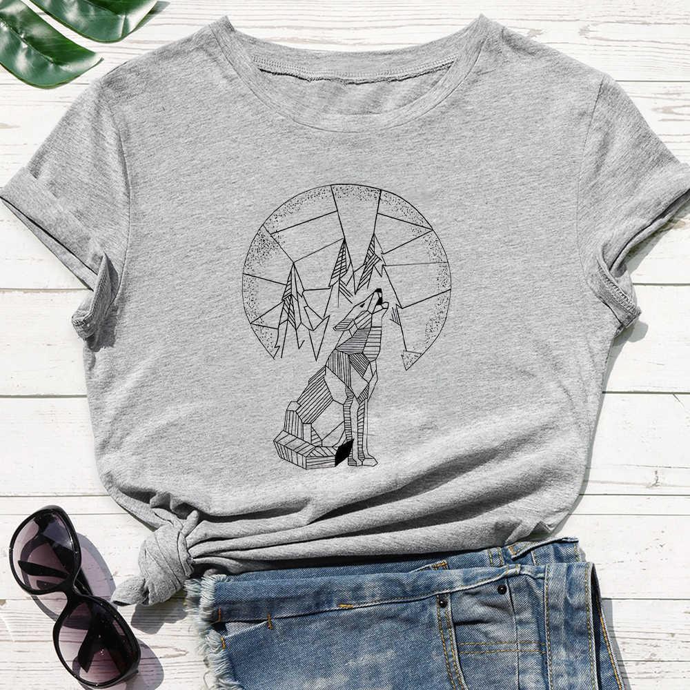 Blanc gris Nouvelle manches courtes T Lone Wolf Impression Mode Punk Femme Shirt Vestidos Confortable Cou O-Cou Oversize Tshirt