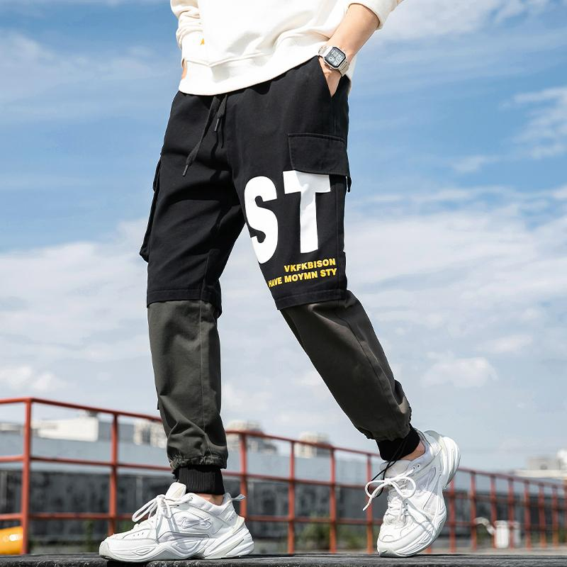 Мужские брюки мода спорт корейских тенденции, осень и зима досуг, сыпучие, все виды сплайсинга прямые трубка поножи