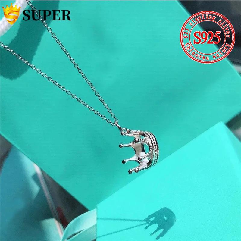 100% 925 Ayar Gümüş Orijinal Tiff Taç Kolye Kolye Takı Charm Marka Tasarım Kadınlar Için Logo Yüksek Takı Hediye