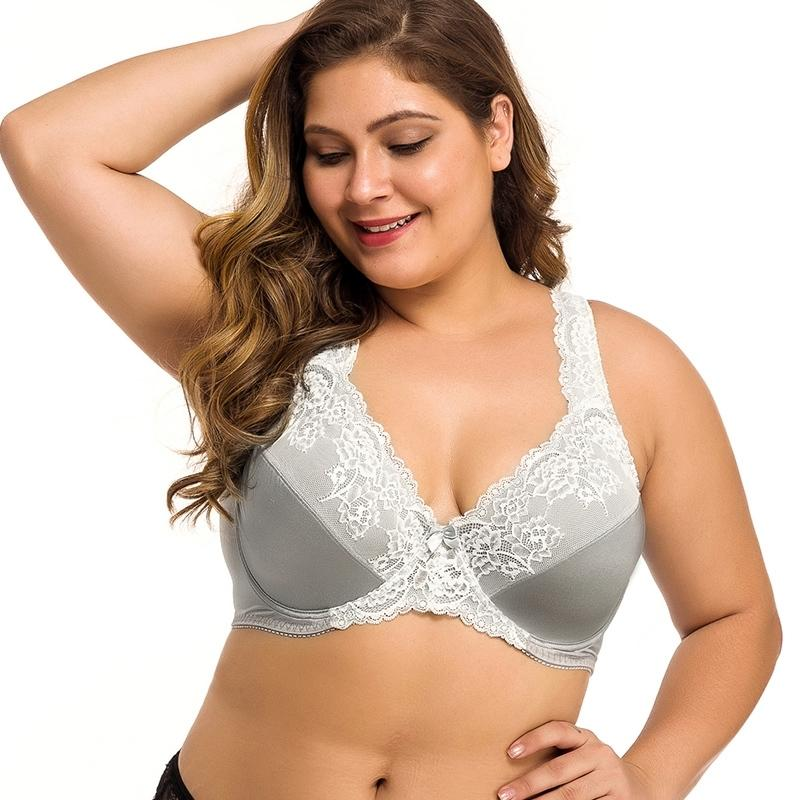 Telimussto Cinza Perspectiva Perspectiva Bra Mulheres Sexy Lingerie Bordado Floral Bralette Plus Size DDD F G H 36 38 40 42 44 46 48 50 Y200415