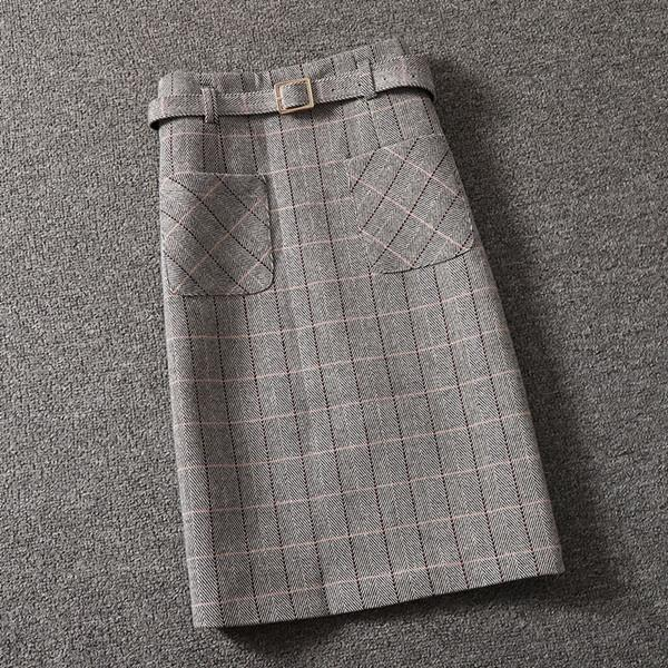 Women's high-waisted skirts, wool pocket dress, woolen slit buttock skirt in autumn and winter, fashion, simple style