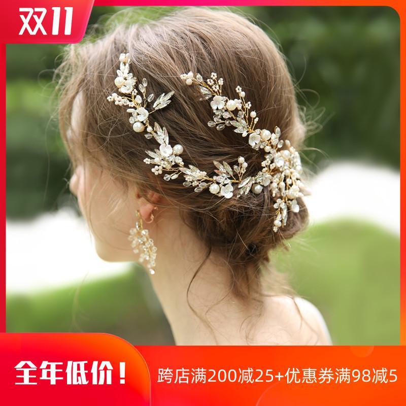 Свет золотого супер фея новый свадебный головной убор с серьгой Морите свадебные тосты аксессуаров платья волос