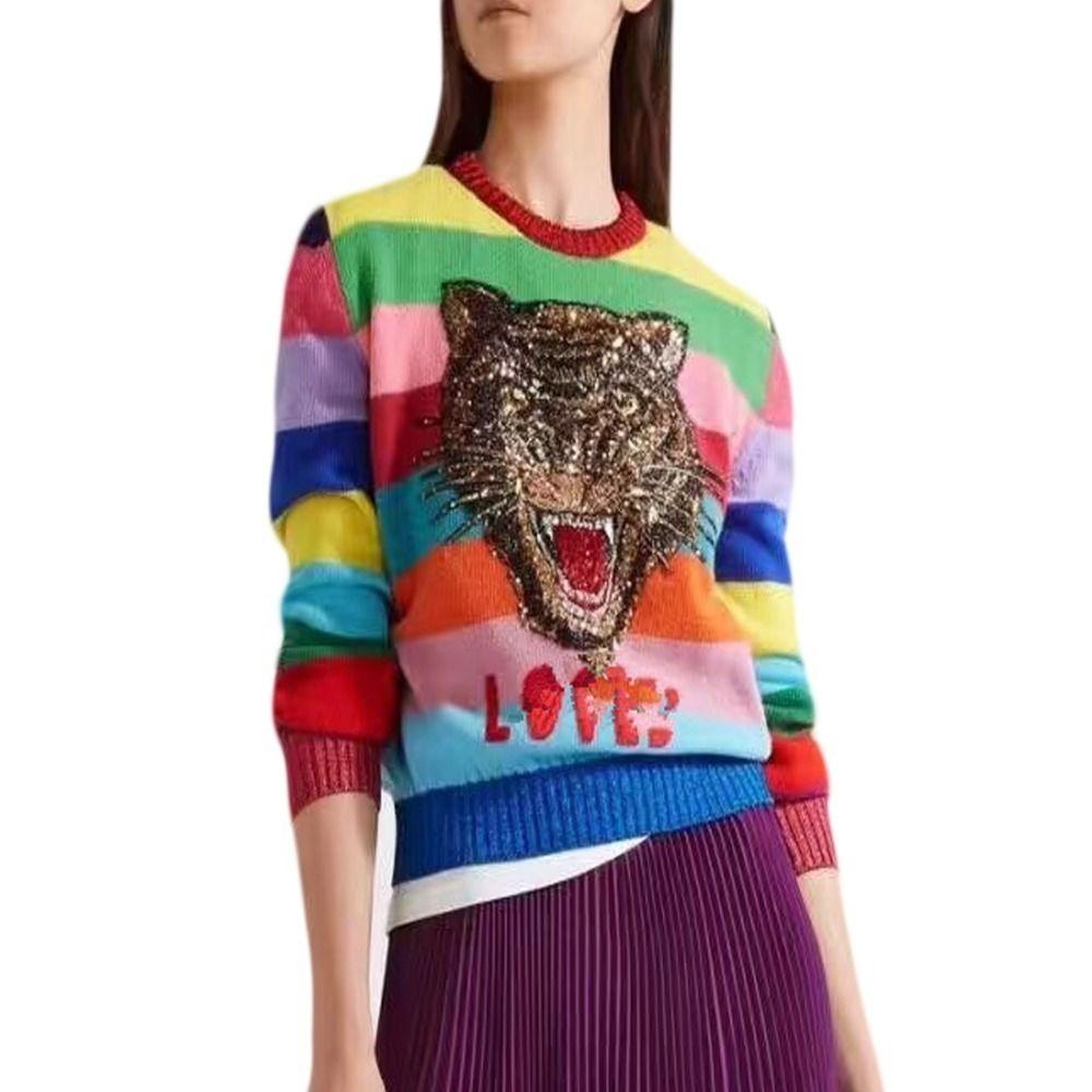 Роскошные Крупногабаритные Свитера Женщины Кролика Cat пуловер мультфильм Тигр вышивка Письмо вязаный свитер Радуга Полосатый 201016