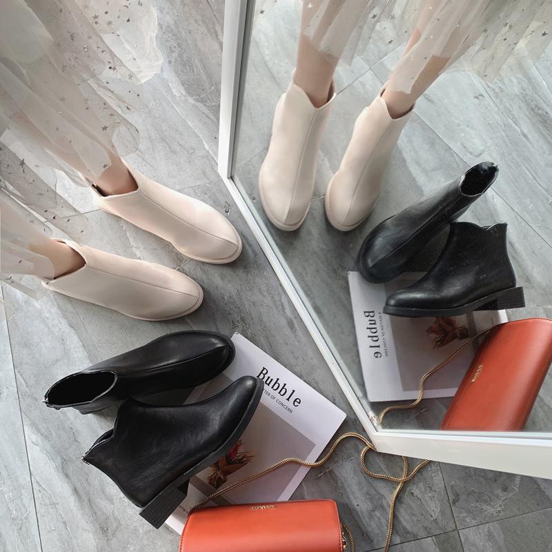 Stivali femminili primavera e autunno stivali singoli 2020 nuovi studenti selvaggi con lampo spessa con cerniera posteriore Belle scarpe vento britanniche