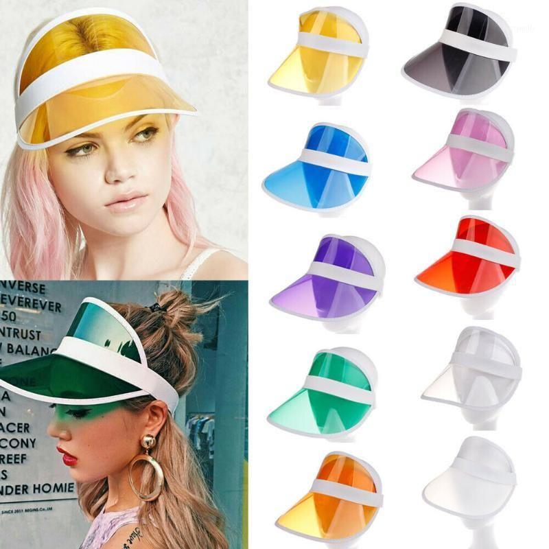 Ampla Brim Hats Hirigin 2021 Verão PVC Hat Sol Visor Party Casual Plástico Adulto Sunscreen Cap Ao Ar Livre Esportes Mulheres Senhoras1