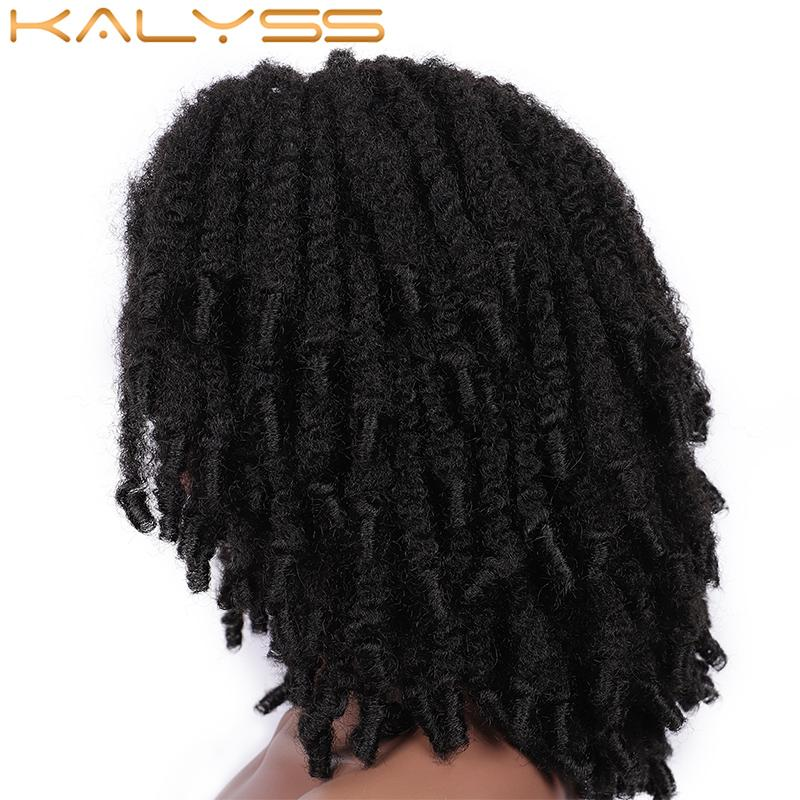 Kalyss 10 Fully Braided Lace Wigs Side Lace Parted Short Black Cuban Jamaican Twist Braids Synthetic Hair Wigs for Black Women