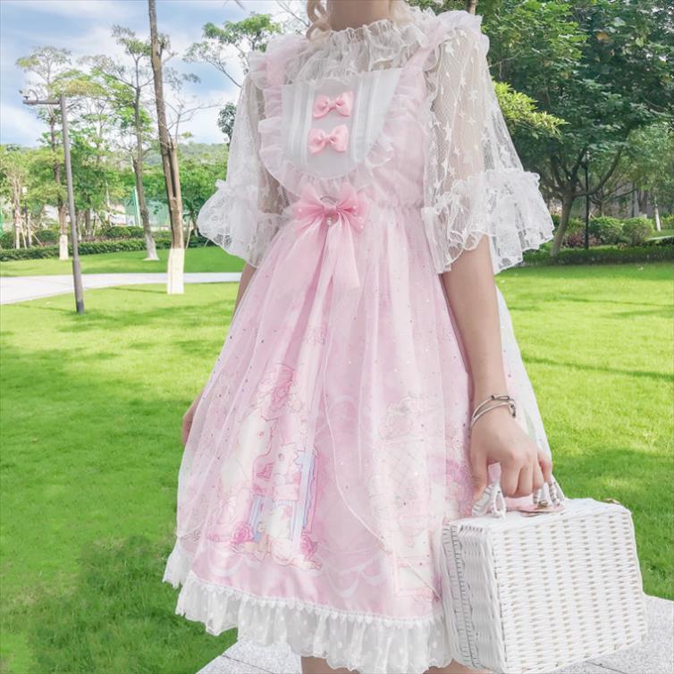 Японское сладкого старинная лолита платья кружева банта печати мило викторианского платье кавай девушки готической лолита J принцесса лоли соз