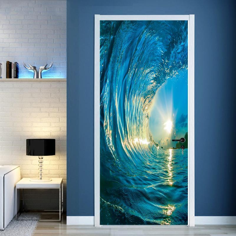 2 Adet / takım Kapısı Çıkartmalar DIY Duvar Yatak Odası Ev Dekor Posteri PVC 3D Sörf Su Geçirmez İmitasyon 3D Kapı Sticker Duvar Kağıdı Çıkartması