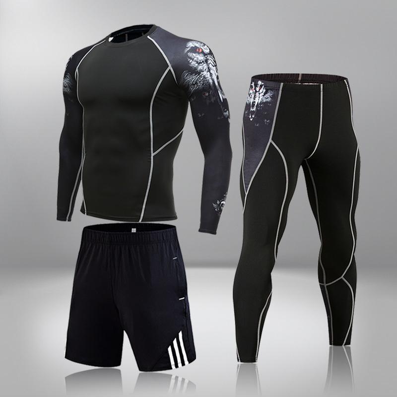 Adam Sıkıştırma Spor Takım Elbise Hızlı Kurutma Terleme Spor Eğitimi MMA Kiti Rashguard Erkek Spor Koşu Koşu Kıyafetleri 201207