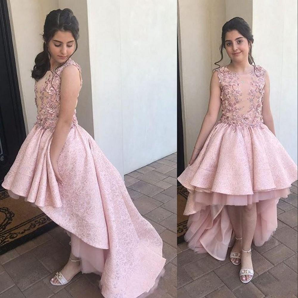 2021 neue erröten rosa spitze kristall perlen mädchen pageant kleider für hochzeiten hoch niedrig junior mädchen formal kleid kinder prom kommunion kleider