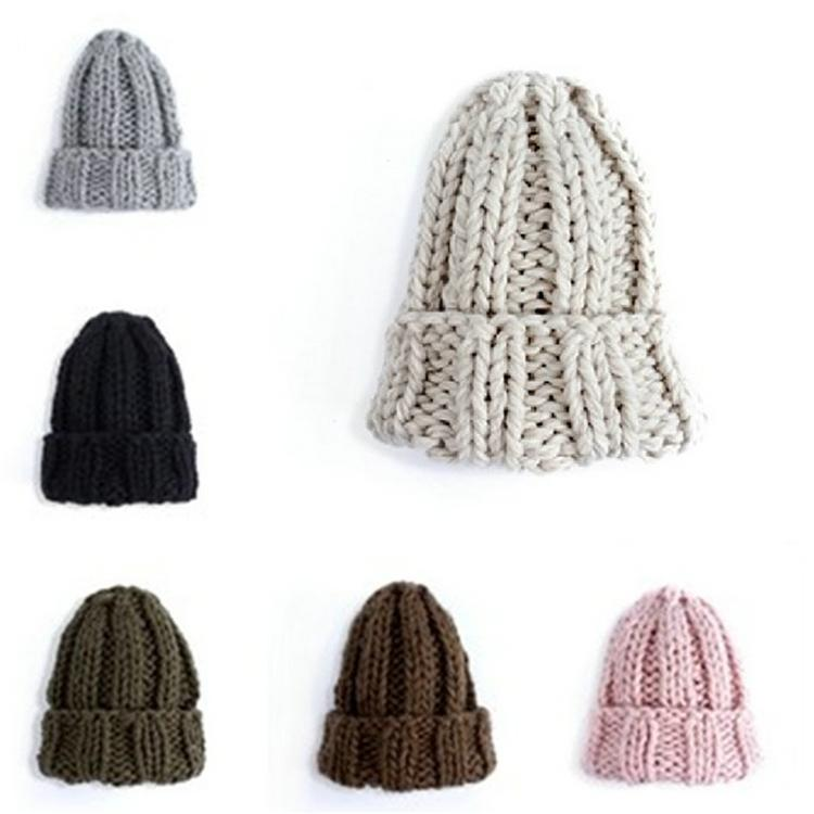 2021 New pure color coarse wool knitting hat autumn winter fashion trend all-match cold hat Multicolor optional