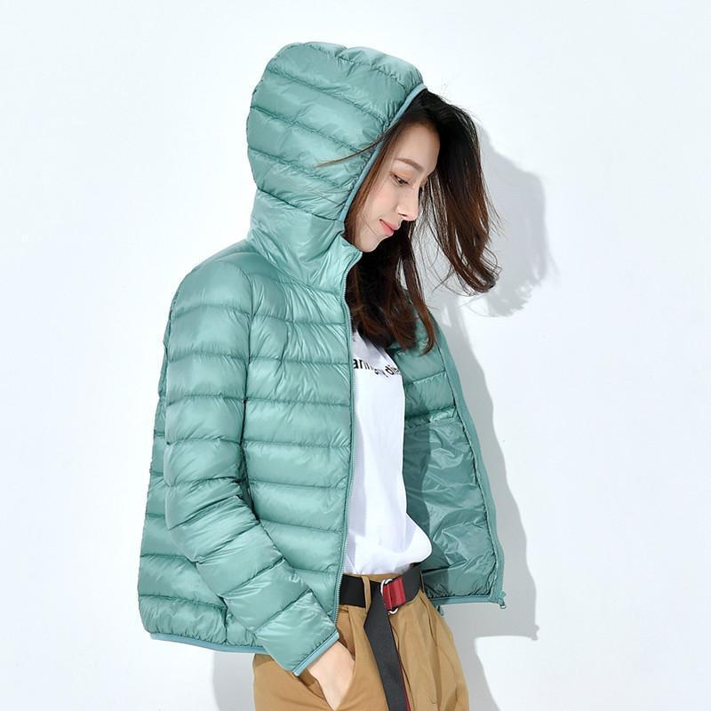 2020 Automne et Hiver Nouveau style veste vers le bas femmes coréenne couleur Solid Slim Fit Minceur grande taille mince court de manteau à capuchon