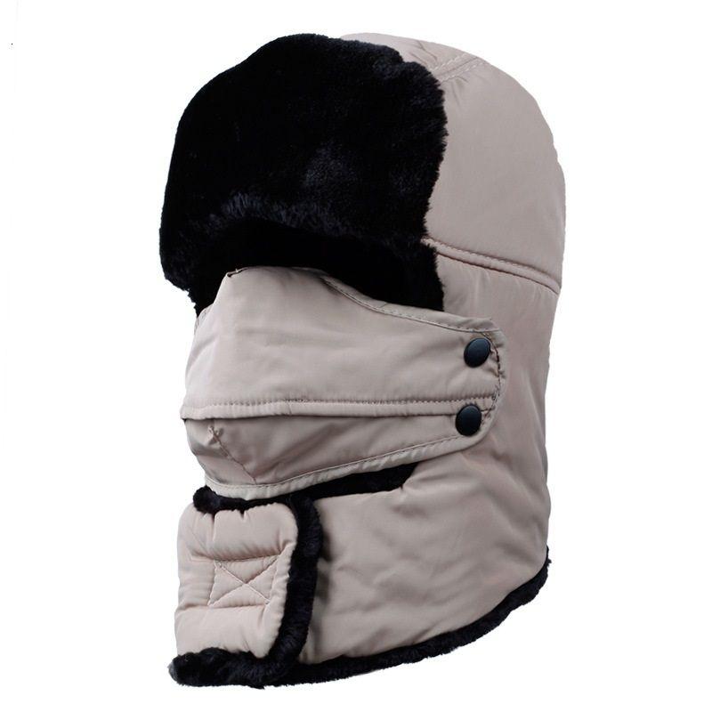 Hiver chaud coupe-vent épais Chapeau de neige d'hiver New Outdoor Grand Femmes Hommes Cap Masque Visage Cache-oreilles pleine couverture Dur