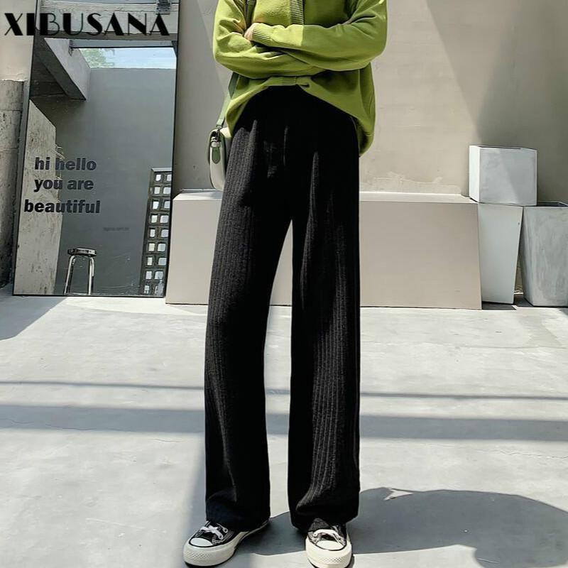 XIBUSANA pantaloni larghi del piedino per le donne elastico vita alta 2020 Autunno coreano allentato Maschio Dritto Pantaloni Streetwear Plus Size 4XL