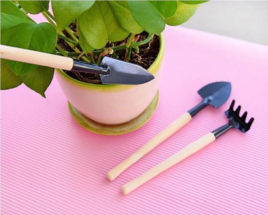 3pcs/set Mini Shovel Rake Set Portable Gardening Tool Wooden Handle Metal Head Shovel Harrows Spade for Flowers Plants Pot Tools Free Ship