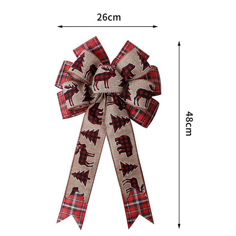 Los fabricantes de la cinta al por mayor de arcos de Navidad Phnom Penh celosía decoración del árbol de Navidad alambre Elk ribete doble arco