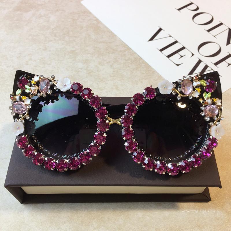 Brand Design Round Eye Cat Rhinestone Pearl Fashion Beach Sunglasses Flower Party Occhiali da sole Occhiali da sole Occhiali da sole Donne Handmade Vintage con MTBPM