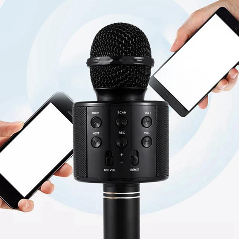 2020 الساخن بو سوداء المحمولة المحمولة المحمولة بلوتوث اللاسلكية كاريوكي موافق ميكروفون وبلوتوث المتكلم ميكروفون المتكلم سجل الموسيقى KTV ميكروفون