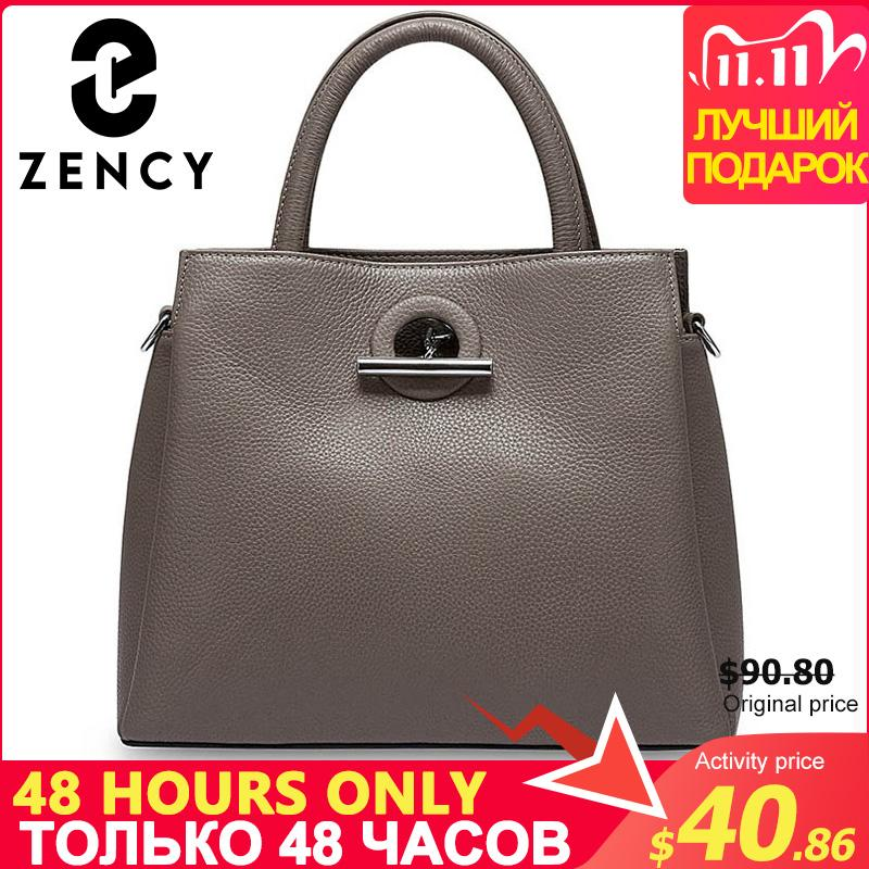 Кожаная мода женская топ-ручка Crossbody 100% сумка подлинная сумка качества дама элегантное высокое ZENCY BUNGS BLACK BLACK серый qwerp