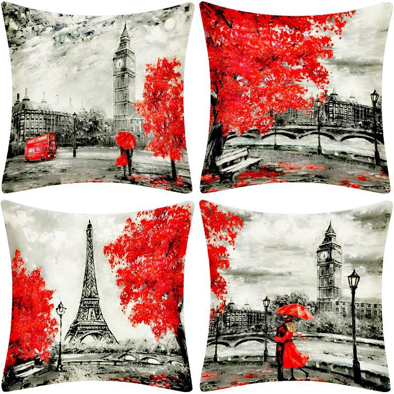 Wartercolor Paris romantique Londres Coussin Tour Eiffel Big Ben Imprimer Taie Valentine Lovers coussins