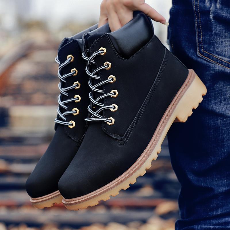 Coturno preto alto alto botas de couro inverno botas de neve homens impermeáveis com pele Manter morna madeiras botas botas sapatos de terra 20116